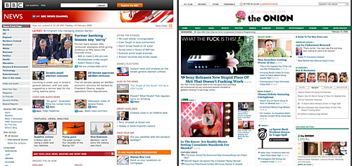 BBC News and The Onion front pages