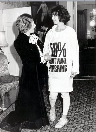 Photo of Katharine Hamnett and Margaret Thatcher