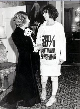 Photo of Katharine Hamnett and Margaret Thatcher