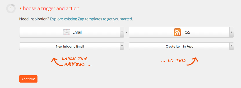 Zapier screenshot, step 1