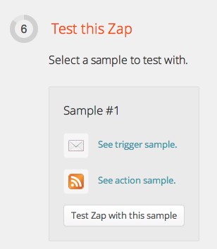Zapier screenshot, step 6