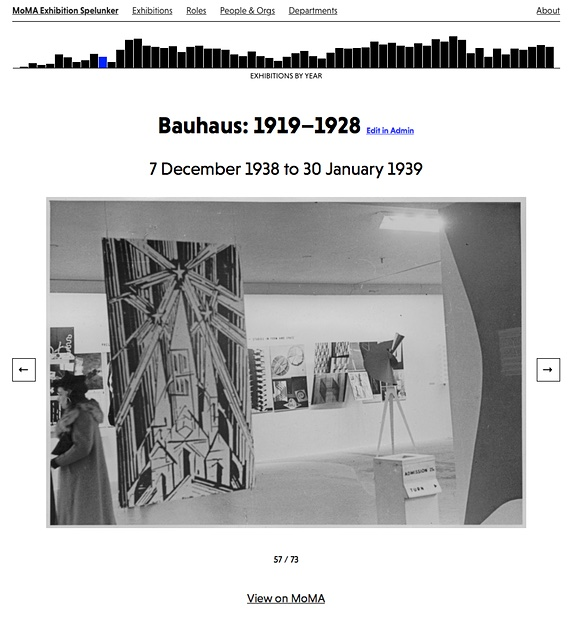 Screenshot of the Bauhaus exhibition page