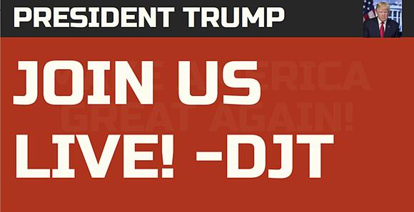 Screenshot: 'President Trump: JOIN US LIVE! - DJT'