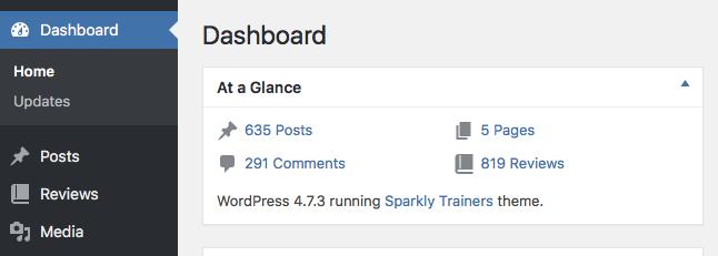 Screenshot of the WordPress Dashboard