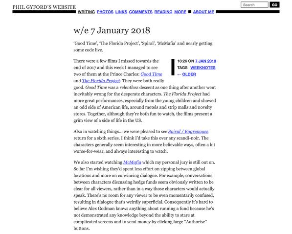 Screenshot of a blog post
