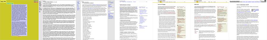Screenshots of seven versions of the website