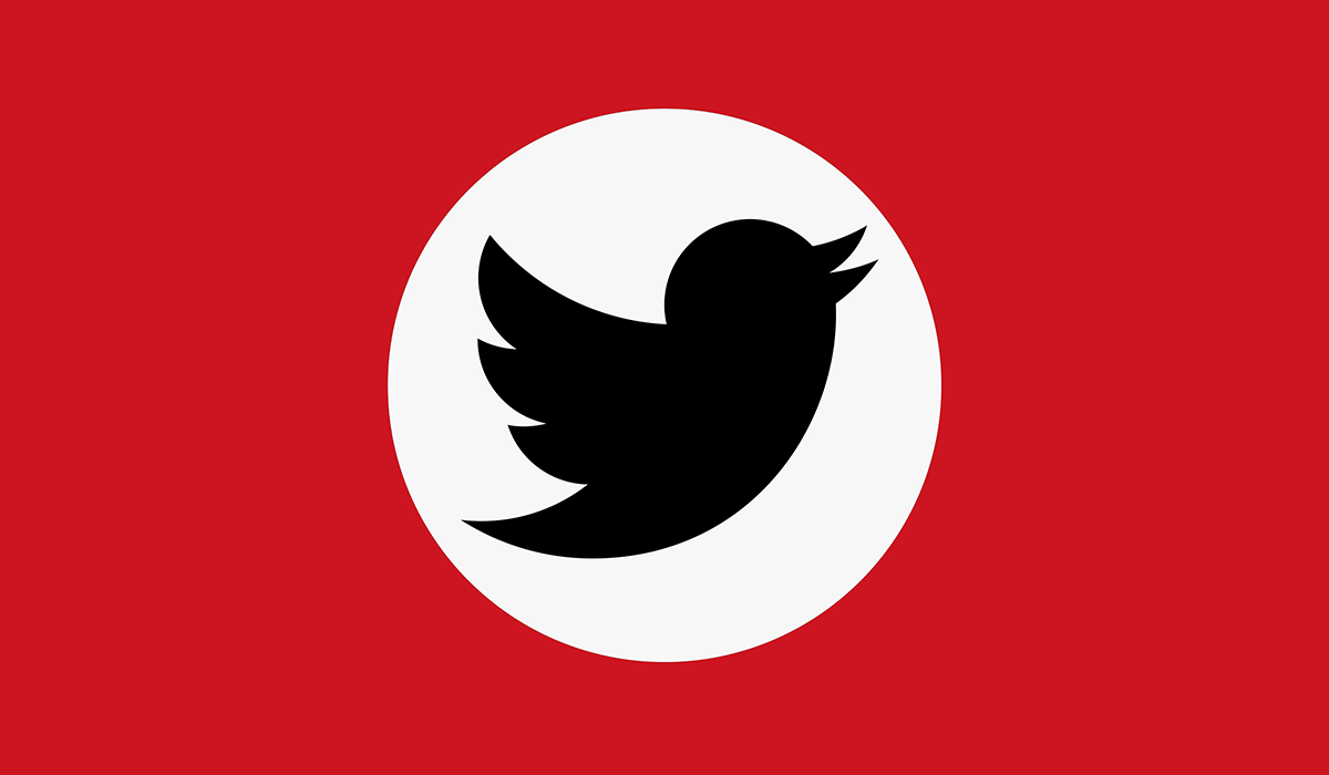 A flag featuring a black Twitter logo in a white circle on a red background